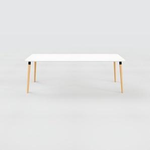 Bureau scandinave - Blanc, design moderne, table de travail nordique, avec pieds inclinés et épurés - 220 x 75 x 90 cm, modulable