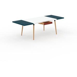 Bureau scandinave - Blanc, design moderne, table de travail nordique, avec pieds inclinés et épurés - 240 x 75 x 90 cm, modulable
