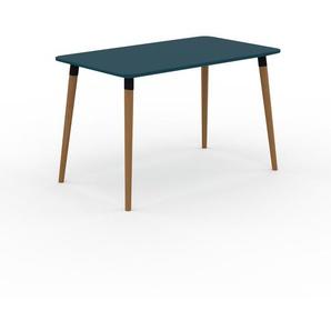 Bureau scandinave - Bleu, design moderne, table de travail nordique, avec pieds inclinés et épurés - 120 x 75 x 70 cm, modulable