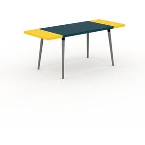 Bureau scandinave - Bleu, design moderne, table de travail nordique, avec pieds inclinés et épurés - 180 x 75 x 70 cm, modulable