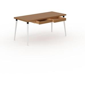 Bureau scandinave - Chêne, design moderne, table de travail nordique, avec pieds inclinés et épurés - 160 x 75 x 70 cm, modulable