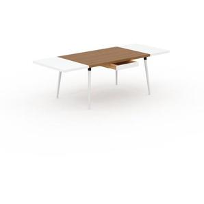Bureau scandinave - Chêne, design moderne, table de travail nordique, avec pieds inclinés et épurés - 240 x 75 x 90 cm, modulable