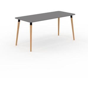 Bureau scandinave - Gris, design moderne, table de travail nordique, avec pieds inclinés et épurés - 160 x 75 x 70 cm, modulable