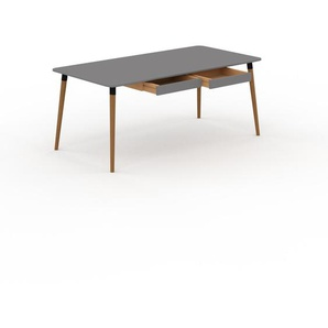 Bureau scandinave - Gris, design moderne, table de travail nordique, avec pieds inclinés et épurés - 180 x 75 x 90 cm, modulable
