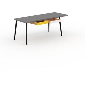 Bureau scandinave - Gris, design moderne, table de travail nordique, avec pieds inclinés et épurés - 190 x 75 x 70 cm, modulable