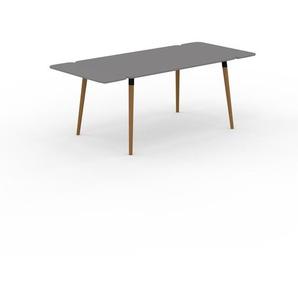 Bureau scandinave - Gris, design moderne, table de travail nordique, avec pieds inclinés et épurés - 200 x 75 x 90 cm, modulable