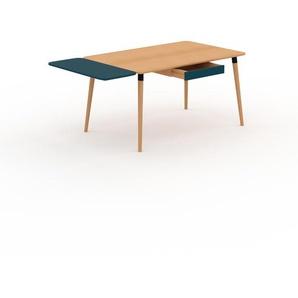 Bureau scandinave - Hêtre, design moderne, table de travail nordique, avec pieds inclinés et épurés - 180 x 75 x 90 cm, modulable