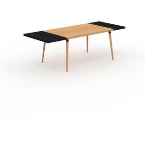 Bureau scandinave - Hêtre, design moderne, table de travail nordique, avec pieds inclinés et épurés - 230 x 75 x 90 cm, modulable