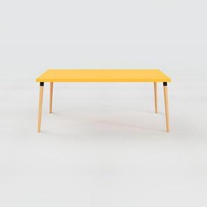 Bureau scandinave - Jaune, design moderne, table de travail nordique, avec pieds inclinés et épurés - 180 x 75 x 90 cm, modulable