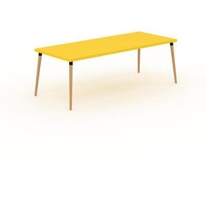 Bureau scandinave - Jaune, design moderne, table de travail nordique, avec pieds inclinés et épurés - 220 x 75 x 90 cm, modulable