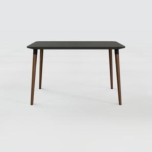 Bureau scandinave - Noir, design moderne, table de travail nordique, avec pieds inclinés et épurés - 120 x 75 x 70 cm, modulable