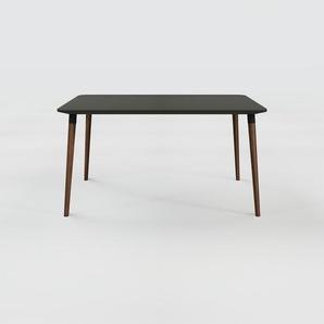 Bureau scandinave - Noir, design moderne, table de travail nordique, avec pieds inclinés et épurés - 140 x 75 x 90 cm, modulable