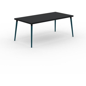 Bureau scandinave - Noir, design moderne, table de travail nordique, avec pieds inclinés et épurés - 180 x 75 x 90 cm, modulable