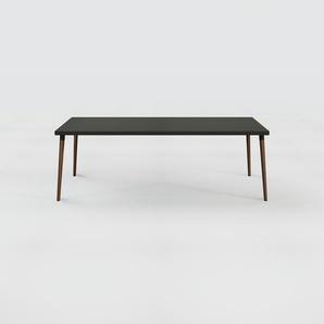Bureau scandinave - Noir, design moderne, table de travail nordique, avec pieds inclinés et épurés - 220 x 75 x 90 cm, modulable