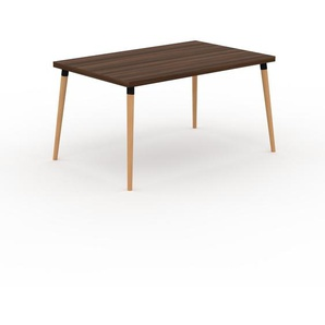 Bureau scandinave - Noyer, design moderne, table de travail nordique, avec pieds inclinés et épurés - 140 x 75 x 90 cm, modulable
