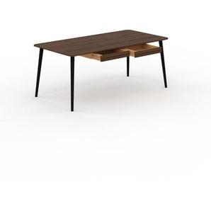 Bureau scandinave - Noyer, design moderne, table de travail nordique, avec pieds inclinés et épurés - 180 x 75 x 90 cm, modulable