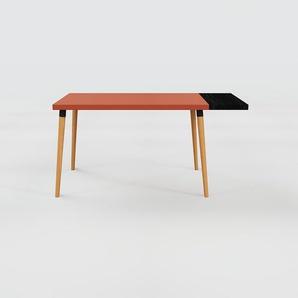 Bureau scandinave - Rouge, design moderne, table de travail nordique, avec pieds inclinés et épurés - 150 x 75 x 70 cm, modulable