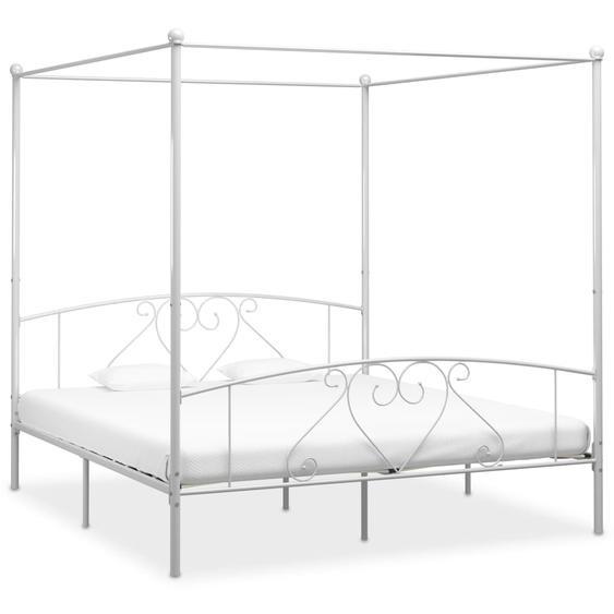 Cadre de lit à baldaquin Blanc Métal 200 x 200 cm