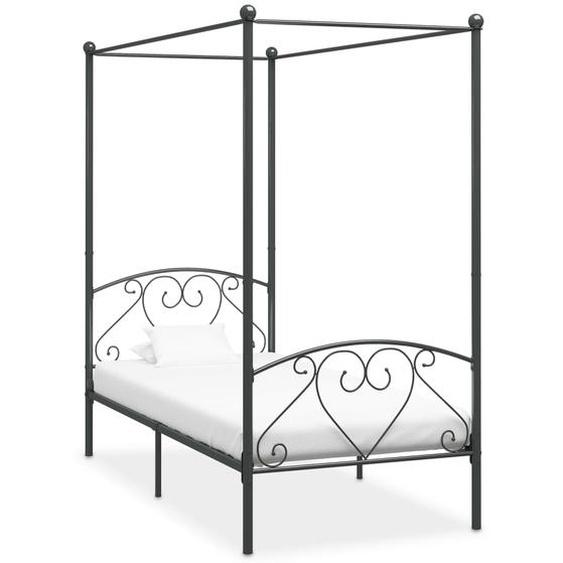 Cadre de lit à baldaquin Gris Métal 120 x 200 cm