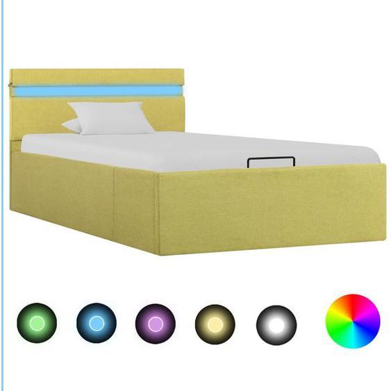 Cadre de lit à stockage avec LED Jaune citron Tissu 90x200 cm - YOUTHUP