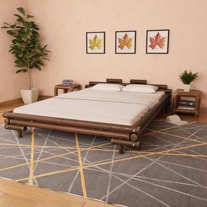 Cadre de lit Marron foncé Bambou 160 x 200 cm