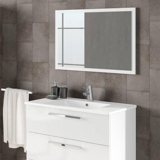 Caesaroo Mobile bagno 3 cassetti a terra 80 cm bianco lucido con specchio   Bianco lucido - Con Colonna e Lampada Led