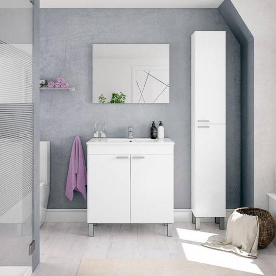 Caesaroo Mobile bagno a terra 80 cm Bianco lucido con specchio   Bianco - Con Colonna e Lampada Led