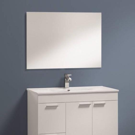 Caesaroo Mobile bagno a terra Aktivia 80 cm bianco lucido con specchio   Bianco lucido - Con Colonna e Lampada Led