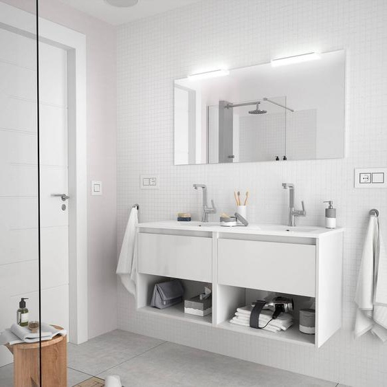 Caesaroo Mobile bagno sospeso 120 cm in legno Bianco lucido con due cassetti e due vani   Con Specchio, Doppia colonna e Doppia lampada LED