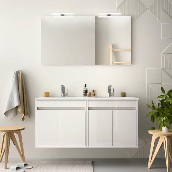 Caesaroo Mobile bagno sospeso 120 cm in legno laccato Bianco lucido con quattro ante   Con specchio e doppia lampada LED
