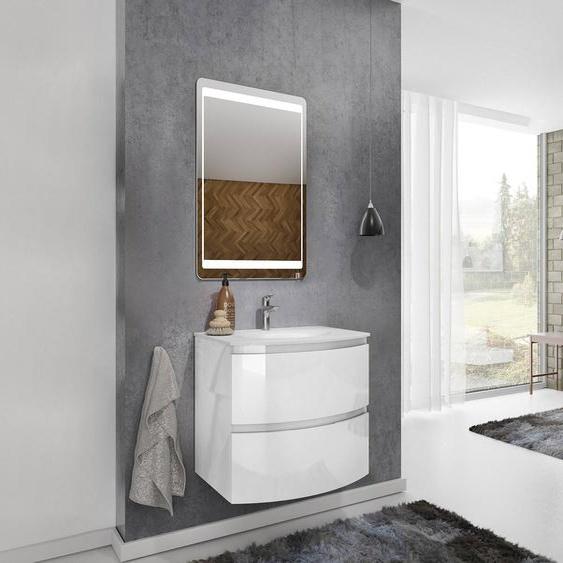 Caesaroo Mobile bagno sospeso 70 cm Atene in legno laccato Bianco lucido con Lavabo   70 cm  - Standard