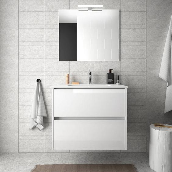 Caesaroo Mobile bagno sospeso 70 cm in legno laccato bianco lucido con lavabo in porcellana   Con colonna