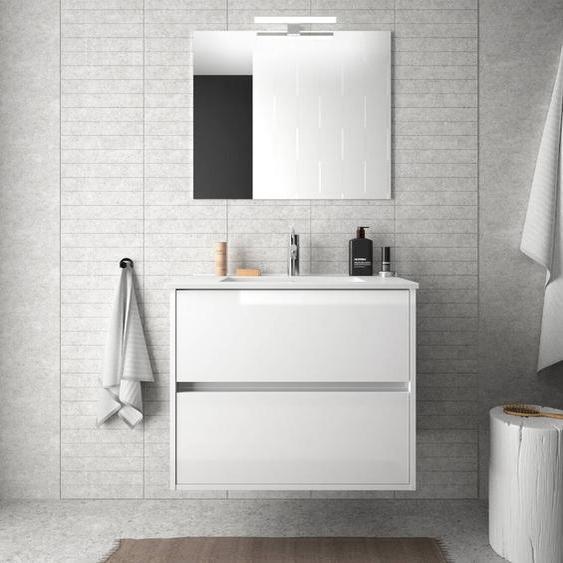 Caesaroo Mobile bagno sospeso 70 cm in legno laccato bianco lucido con lavabo in porcellana   Con specchio e lampada LED
