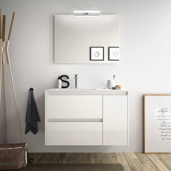 Caesaroo Mobile bagno sospeso 85 cm in legno laccato bianco lucido con lavabo in porcellana   Con colonna, specchio e lampada LED