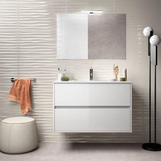 Caesaroo Mobile bagno sospeso 90 cm in legno laccato bianco lucido con lavabo in porcellana   Con specchio e lampada LED