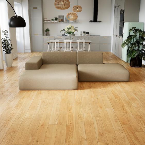Canapé dangle - Beige Cachemire, design arrondi, canapé en L ou angle, confortable avec méridienne ou coin - 270 x 72 x 168 cm, modulable