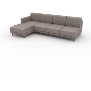 Canapé dangle - Beige taupe, design épuré, canapé en L ou angle, élégant avec méridienne ou coin - 252 x 75 x 162 cm, modulable