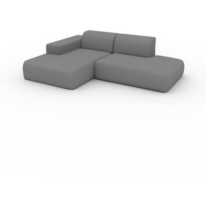 Canapé dangle - Blanc Granite, design arrondi, canapé en L ou angle, confortable avec méridienne ou coin - 245 x 72 x 168 cm, modulable