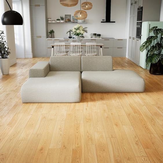 Canapé dangle - Blanc Naturel, design arrondi, canapé en L ou angle, confortable avec méridienne ou coin - 245 x 72 x 168 cm, modulable