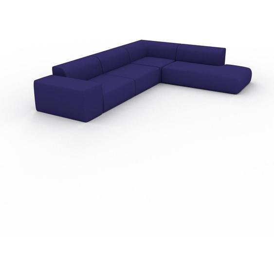 Canapé dangle - Bleu Encre, design arrondi, canapé en L ou angle, confortable avec méridienne ou coin - 267 x 72 x 353 cm, modulable