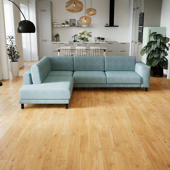 Canapé dangle - Bleu Glacier, design épuré, canapé en L ou angle, élégant avec méridienne ou coin - 278 x 75 x 214 cm, modulable