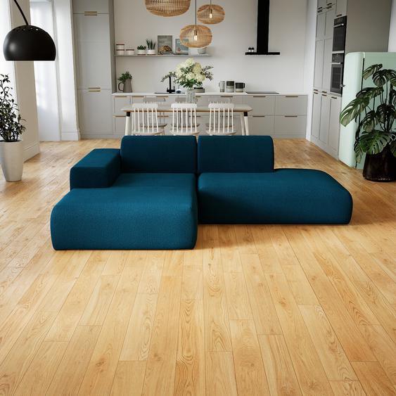 Canapé dangle - Bleu Océan, design arrondi, canapé en L ou angle, confortable avec méridienne ou coin - 245 x 72 x 168 cm, modulable