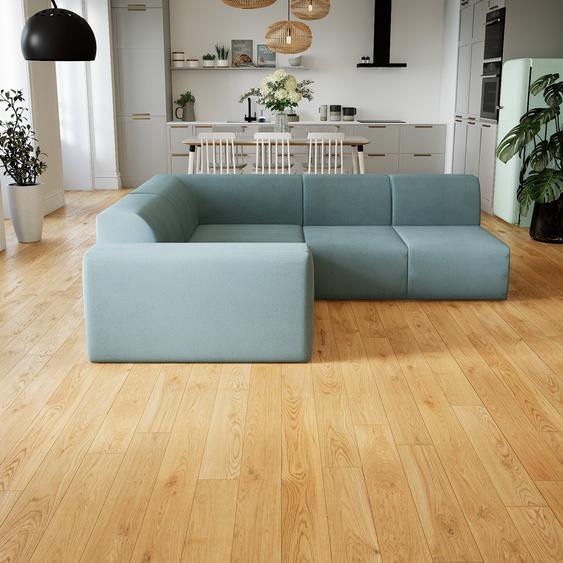 Canapé dangle - Bleu Pigeon, design arrondi, canapé en L ou angle, confortable avec méridienne ou coin - 227 x 72 x 214 cm, modulable