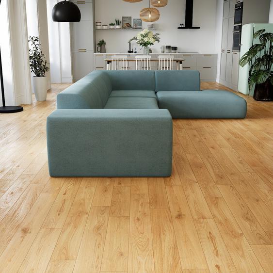 Canapé dangle - Bleu Pigeon, design arrondi, canapé en L ou angle, confortable avec méridienne ou coin - 241 x 72 x 353 cm, modulable
