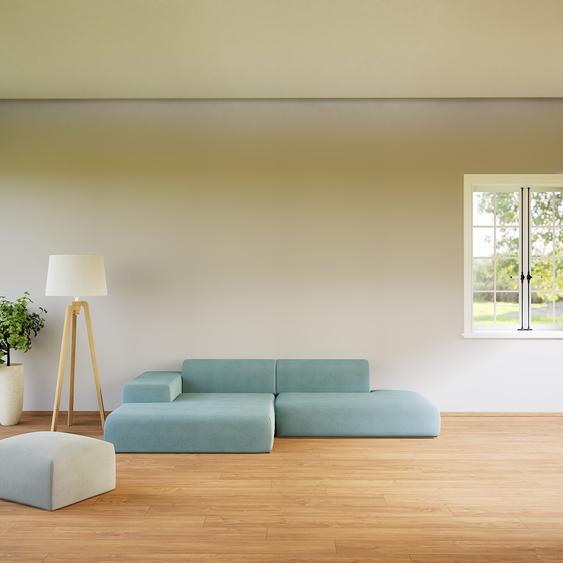 Canapé dangle - Bleu Pigeon, design arrondi, canapé en L ou angle, confortable avec méridienne ou coin - 310 x 72 x 168 cm, modulable