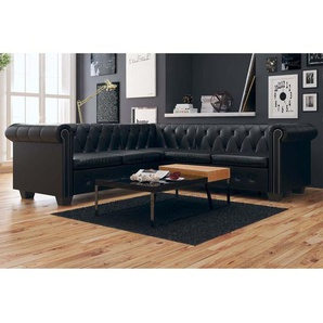 Canapé dangle Chesterfield 5 places Cuir synthétique Noir