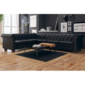 Canapé dangle Chesterfield 6 Places Cuir artificiel Noir