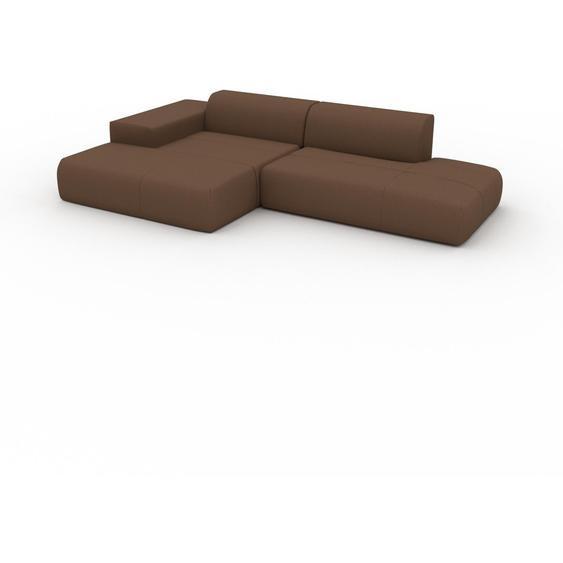 Canapé dangle - Cognac, design arrondi, canapé en L ou angle, confortable avec méridienne ou coin - 310 x 72 x 168 cm, modulable