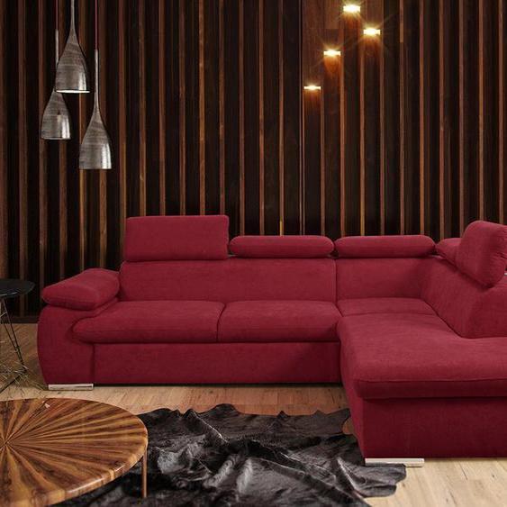 Canapé dangle convertible en tissu avec coffre de rangement FABIEN - rouge - Angle droit