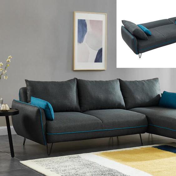 Canapé dangle convertible et réversible en tissu LIVICARICK - Anthracite et passepoil bleu